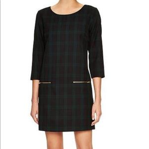 GAP Womens Plaid Zipper Detail Long Sleeve Dress